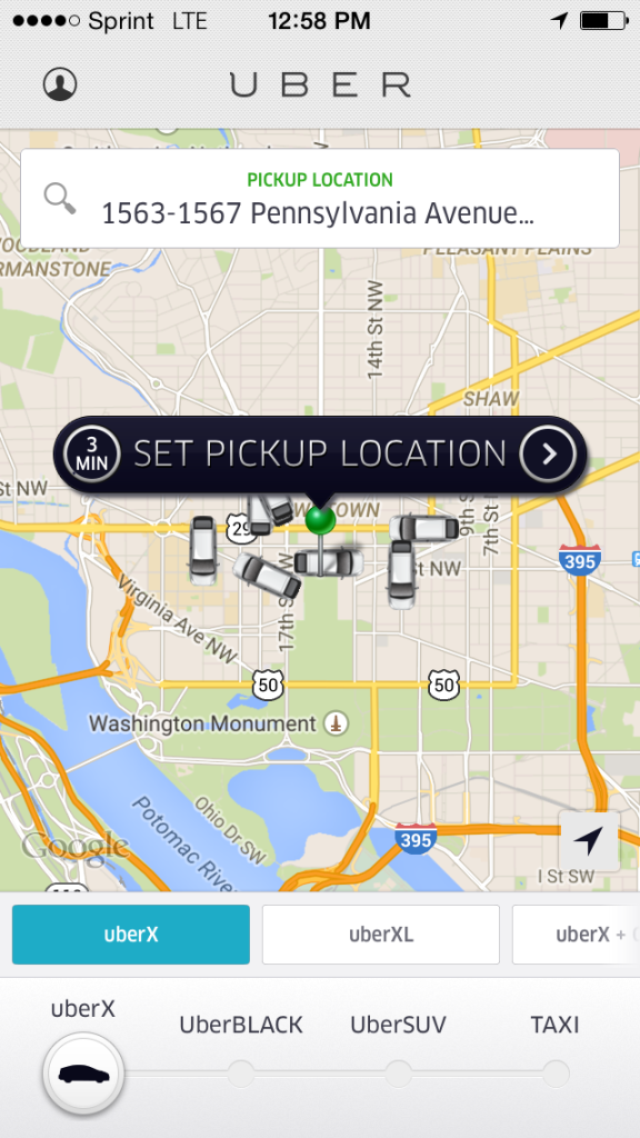Screenshot of Uber app in Washington DC
