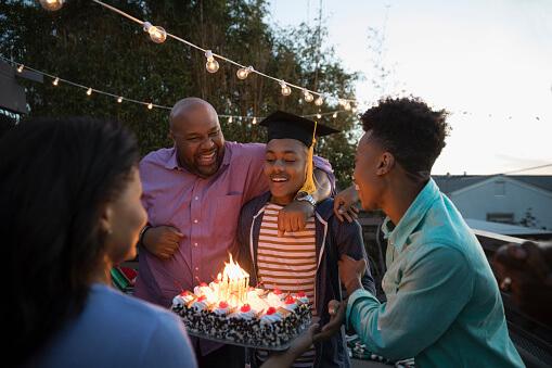 Family celebrating graduation.