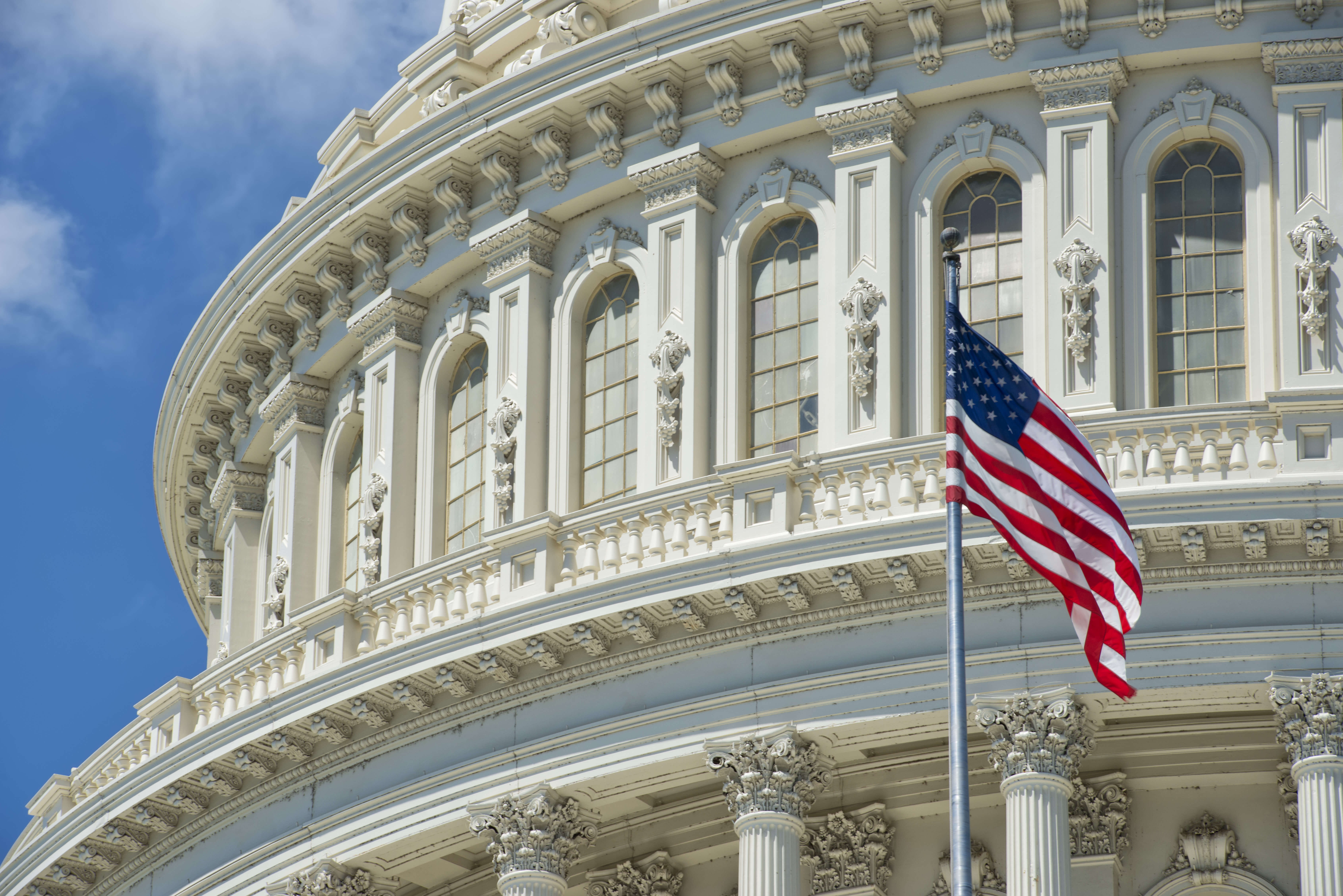 a close up image of an ornately sculpted white building against a blue sky with a flagpole in front of it flying the American flag