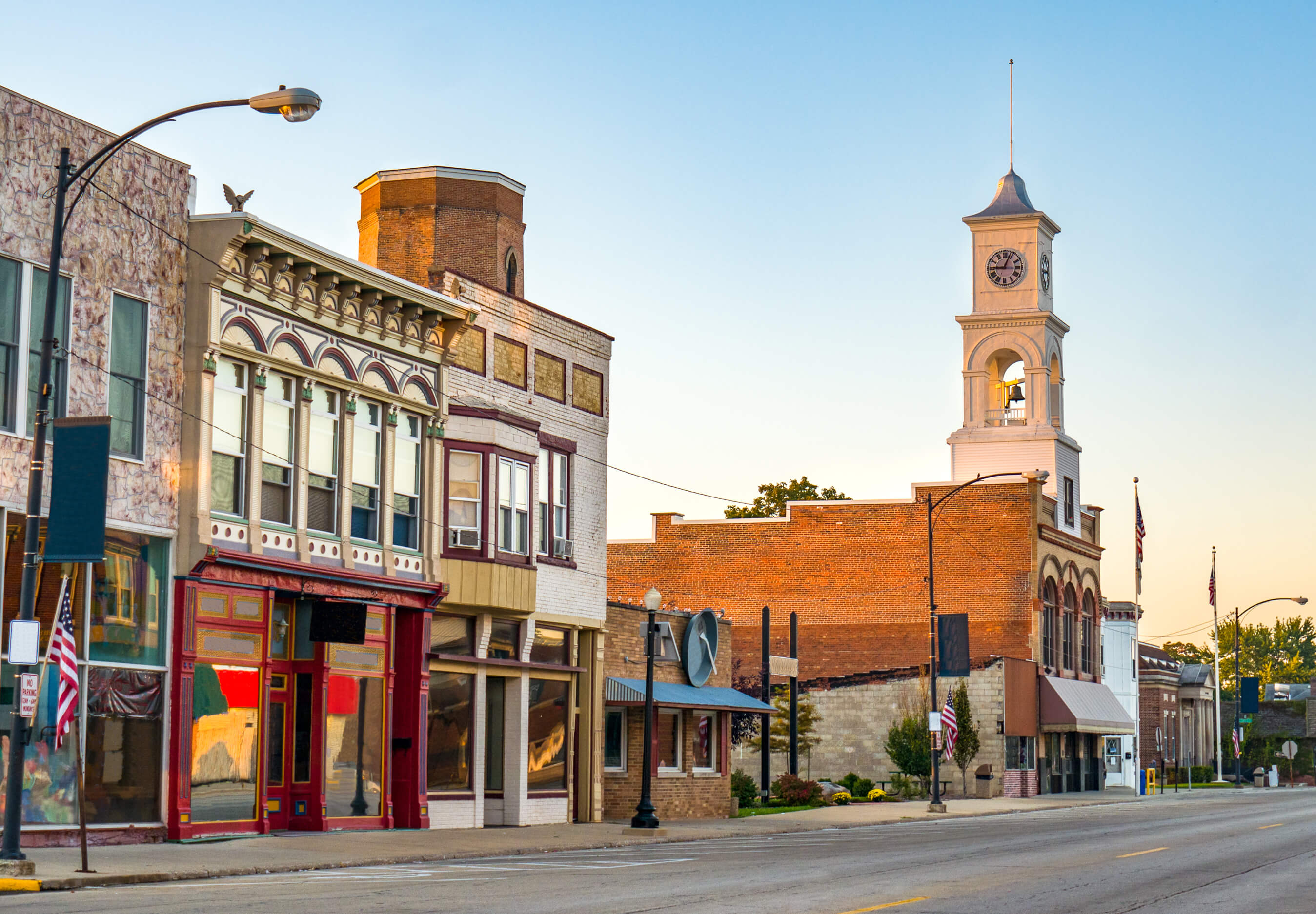image of a small town on a cloudless late afternoon