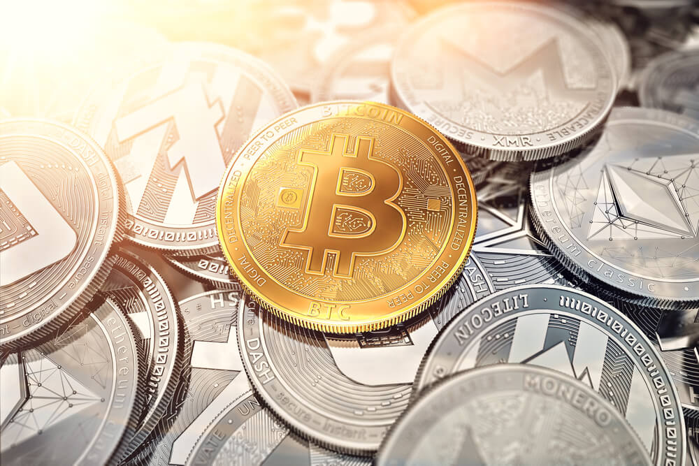 Huge stack of cryptocurrencies with a golden bitcoin on the front as the leader and sun flare as optimistic prediction.