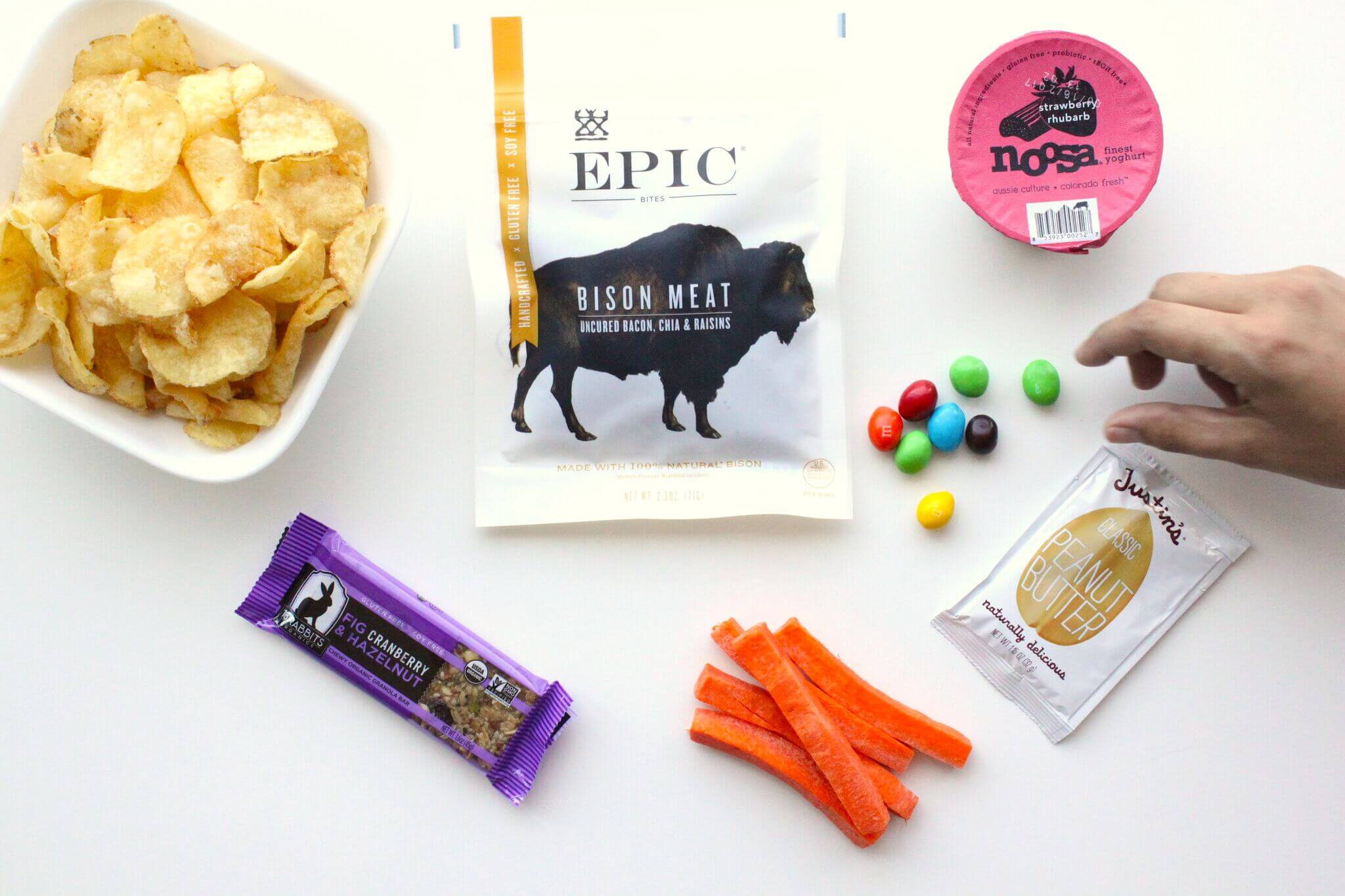 a group of snacks on a white background